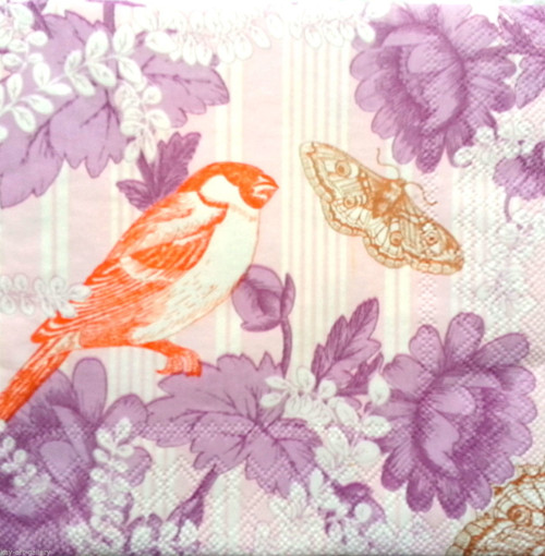 4 Single Lunch Paper Napkins for Decoupage  - Orange Birds Vintage