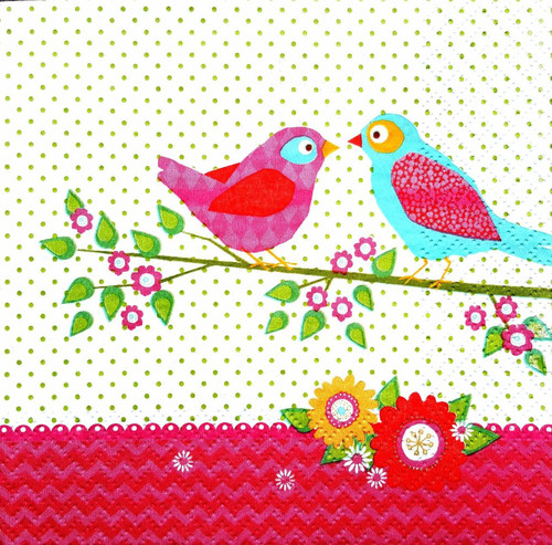 4 Single Paper Lunch Table Napkins for Decoupage -   Birds in Love