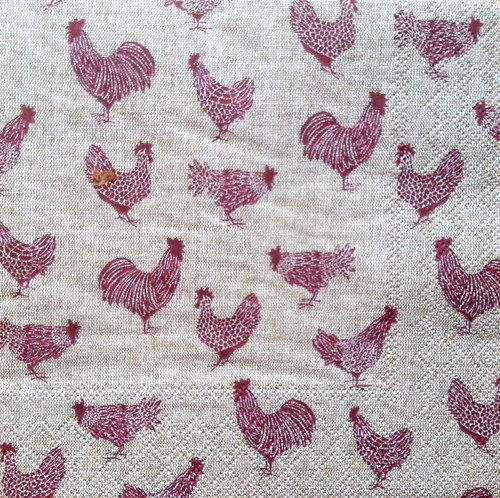 4 Single Paper Lunch Table Napkins for Decoupage -    Rooster and Hens