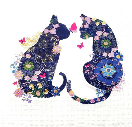 4 Vintage Paper Napkins , Lunch, Table , for Decoupage  -  Floral Cats