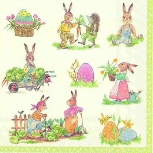 4 Vintage Paper Napkins , Lunch, Table , for Decoupage  - Mix Easter Rabbits