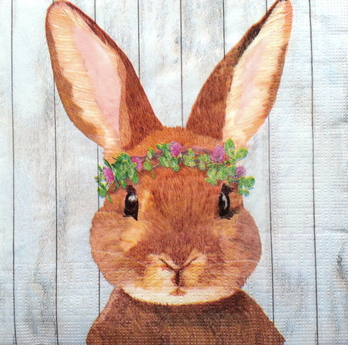 4 Vintage Paper Napkins , Lunch, Table , for Decoupage  - Rabbit
