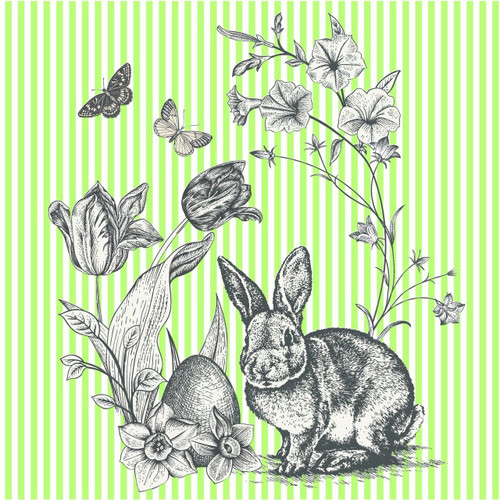 4 Vintage Paper Napkins , Lunch, Table , for Decoupage  - Easter Green Rabbit