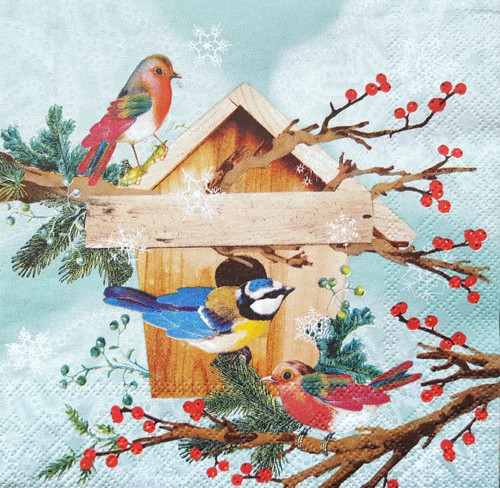 4 Vintage Paper Napkins , Lunch, Table , for Decoupage  - Bird House