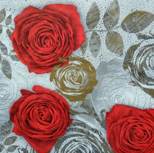 4 Lunch Paper Napkins for Decoupage Table  - Red Roses and Grey