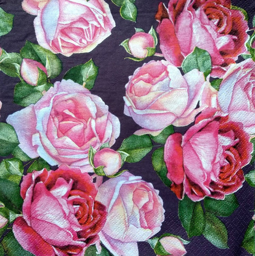 4 Vintage Paper Napkins , Lunch, Table , for Decoupage  -  Dark Purple Roses