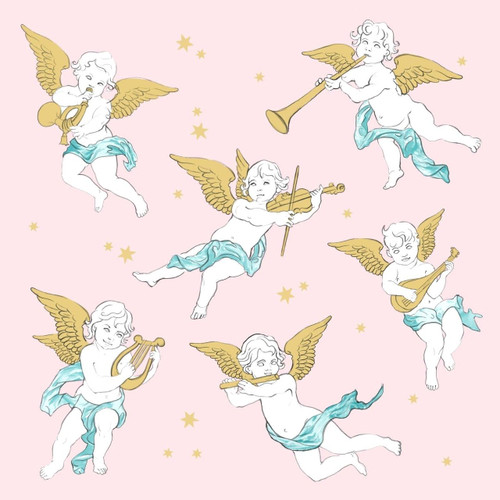 4 Lunch Paper Napkins for Decoupage Table  -  Christmas  Pink Angels