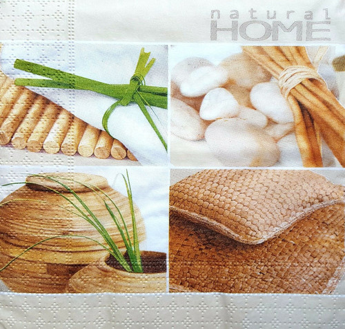 4 Vintage Paper Napkins , Lunch, Table , for Decoupage  -Natural Home