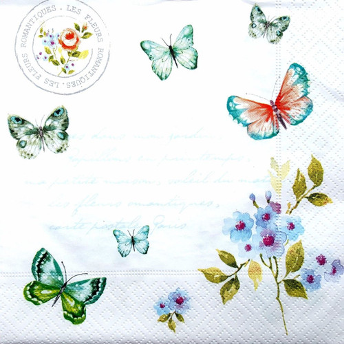 4 Vintage Paper Napkins , Lunch, Table , for Decoupage  -  Butterflies Around