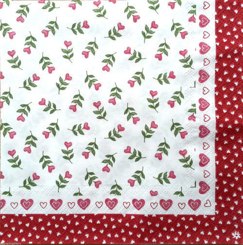 4 Vintage Paper Napkins , Lunch, Table , for Decoupage  - Little Red, Heart Flowers