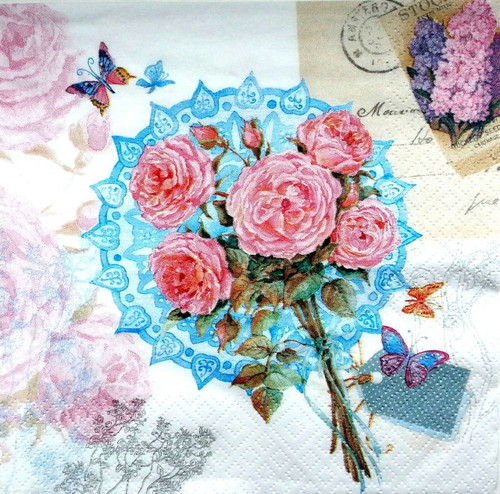 4 Vintage Paper Napkins , Lunch, Table , for Decoupage  - Bunch of Flowers Art