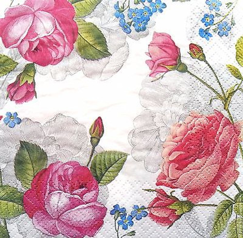 4 Vintage Paper Napkins , Lunch, Table , for Decoupage  -  Pink Roses, Flowers