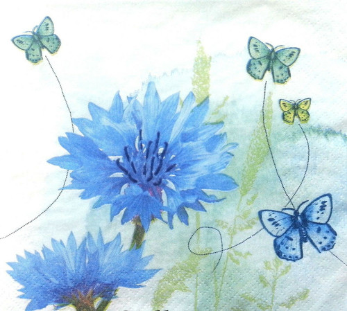 4 Vintage Paper Napkins , Lunch, Table , for Decoupage  - Picture Blue, Flowers