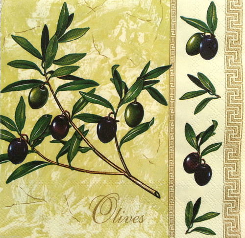 4 Vintage Paper Napkins , Lunch, Table , for Decoupage  - Olive branch
