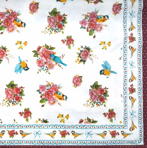 4 Vintage Paper Napkins , Lunch, Table , for Decoupage  -  Beauty Birds, Flowers