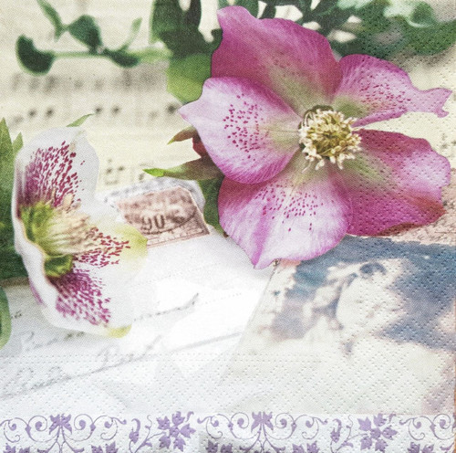 4 Vintage Paper Napkins , Lunch, Table , for Decoupage  - Wedding Flower, Flowers