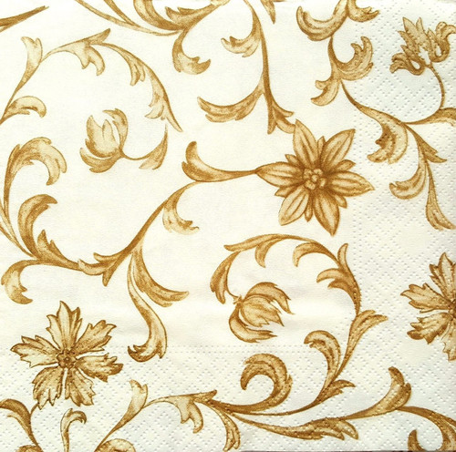4 Vintage Paper Napkins , Lunch, Table , for Decoupage  -  Gold Ivy , Flowers
