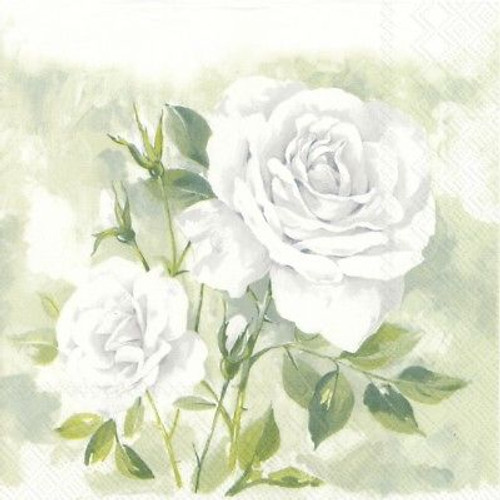 4 Vintage Paper Napkins , Lunch, Table , for Decoupage  -  Rose Boutique White