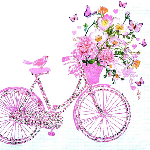 4 Vintage Paper Napkins , Lunch, Table , for Decoupage  - Happy Bike Pink,Flowers