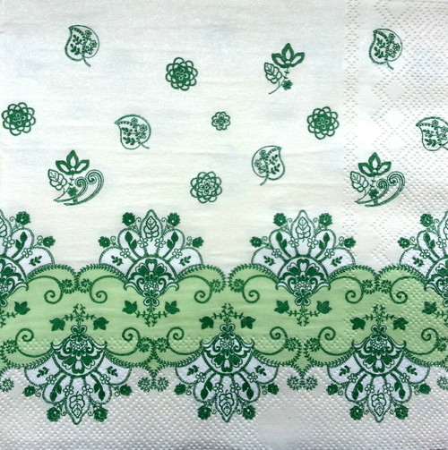 4 Vintage Paper Napkins , Lunch, Table , for Decoupage  - Floral Green Pattern