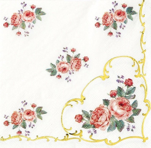 4 Vintage Paper Napkins , Lunch, Table , for Decoupage  -Romantic Roses, Flowers