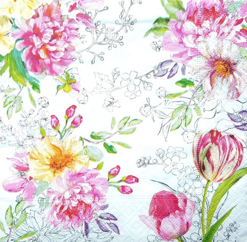 4 Vintage Paper Napkins , Lunch, Table , for Decoupage  -Romantic Garden, Flowers