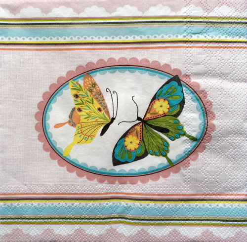 4 Vintage Paper Napkins , Lunch, Table , for Decoupage  - Butterflies in the Frame