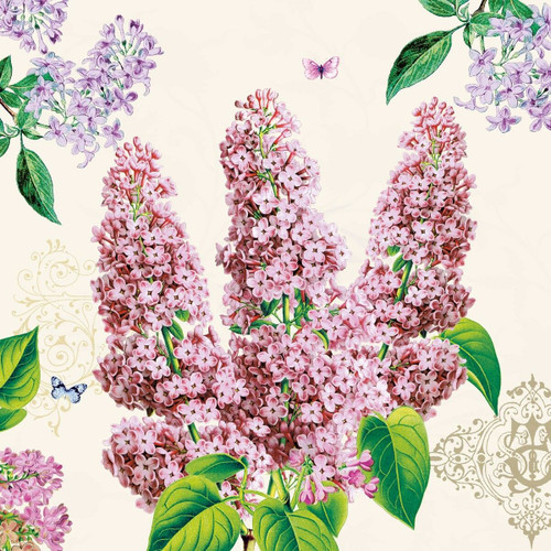 4 Vintage Paper Napkins , Lunch, Table , for Decoupage  - Floral Lilac, Flowers
