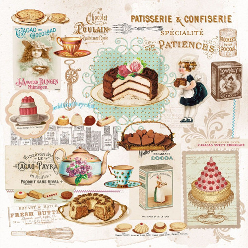 4 Vintage Paper Napkins , Lunch, Table , for Decoupage  - Cakes Cookies