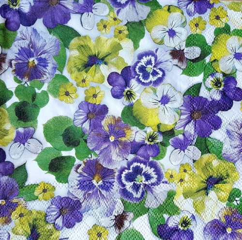 4 Vintage Paper Napkins , Lunch, Table , for Decoupage  - Blue Pansies Flowers