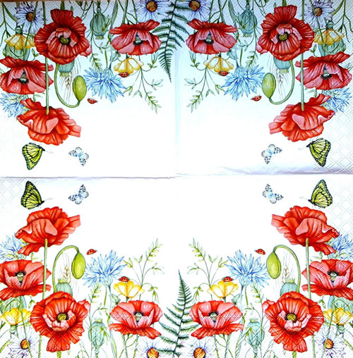 4  Lunch Paper Napkins  - Poppies Meadow, Flowers