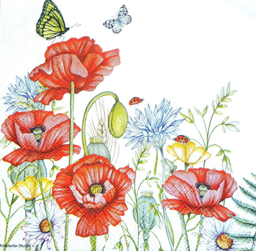 4 Lunch Paper Napkins for Decoupage  -   Poppies Meadow, Flowers
