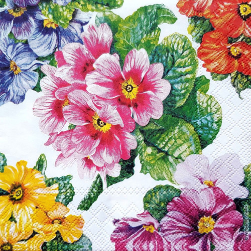 4 Vintage Paper Napkins , Lunch, Table , for Decoupage  -  Colorful Garden Dance, Flowers