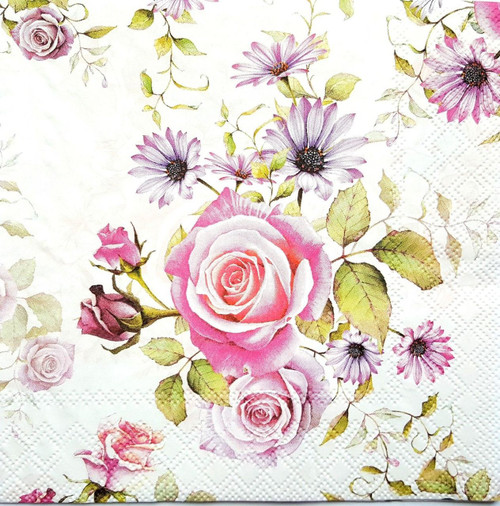 4 Vintage Paper Napkins , Lunch, Table , for Decoupage  -Weeding Roses Light, Flowers