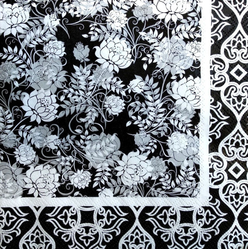 4 Vintage Paper Napkins , Lunch, Table , for Decoupage -Harmony Black Design-Flowers