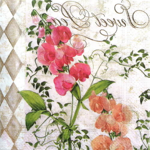 4 Vintage Paper Napkins , Lunch, Table , for Decoupage -Flower Ivy, Flowers
