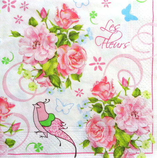 4 Vintage Paper Napkins , Lunch, Table , for Decoupage -Paradise Ivy, Flowers