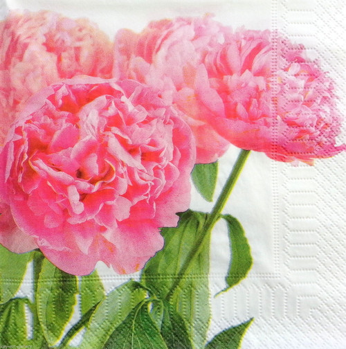 4 Vintage Paper Napkins , Lunch, Table , for Decoupage -Peony Ivy, Flowers