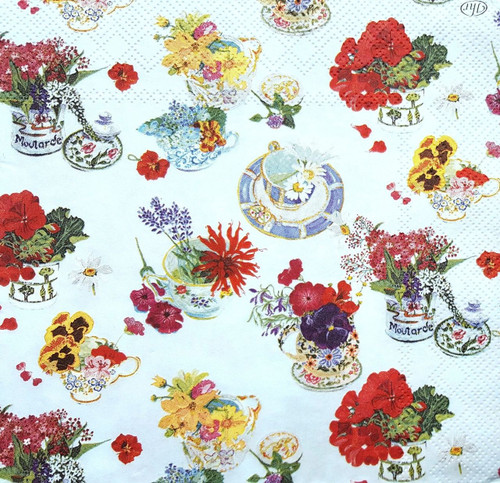 4 Vintage Paper Napkins , Lunch, Table , for Decoupage -Around Blue, Flowers