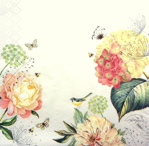4 Vintage Paper Napkins , Lunch, Table , for Decoupage  - Romantic Land, Flowers
