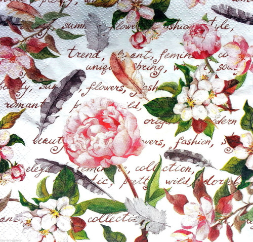 4 Vintage Paper Napkins , Lunch, Table , for Decoupage  -Floral Garden, Flowers