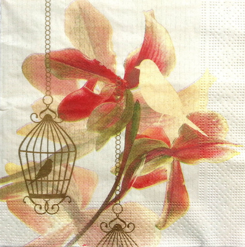 4 Vintage Paper Napkins , Lunch, Table , for Decoupage  -Paradise Bird, Flowers