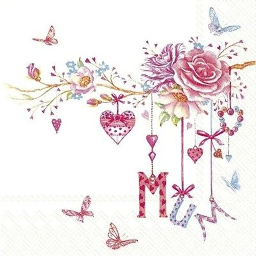 4 Lunch Paper Napkins for Decoupage -I love you Mum, Flowers