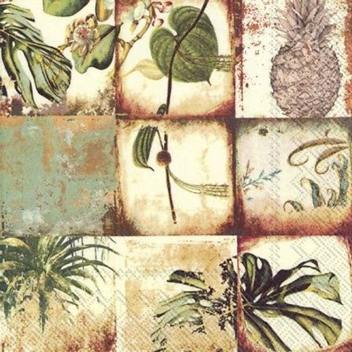 4 Lunch Paper Napkins for Decoupage Party Table - Natural Collage, Flowers