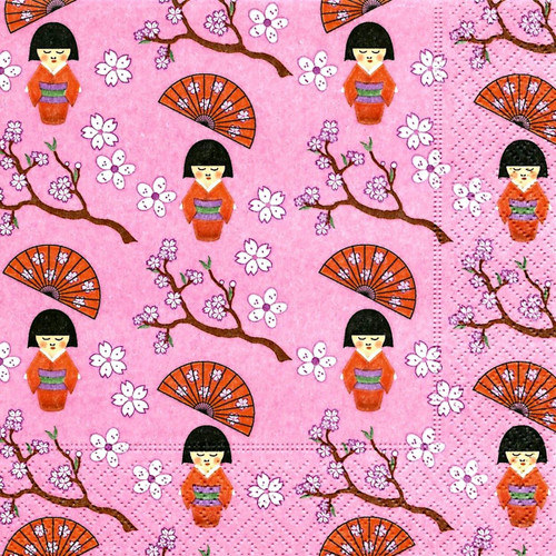 4 Lunch Paper Napkins for Decoupage Party Table -Little Geisha Pink, Flowers