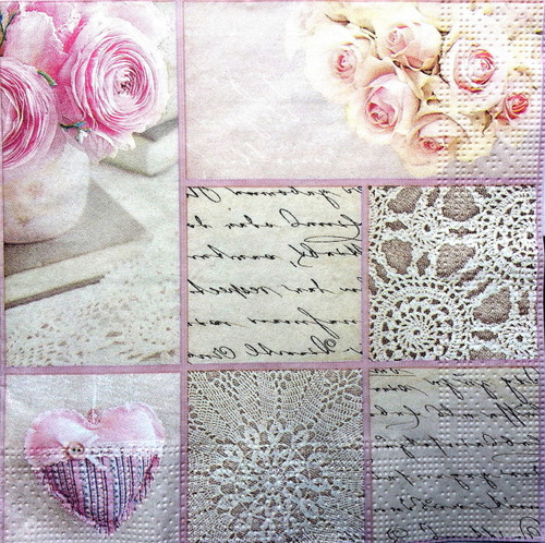 4 Lunch Paper Napkins for Decoupage Party Table - Vintage Collage, Flowers