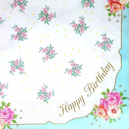 4 Vintage Paper Napkins , Lunch, Table , for Decoupage  -  Happy Birthday , Flowers