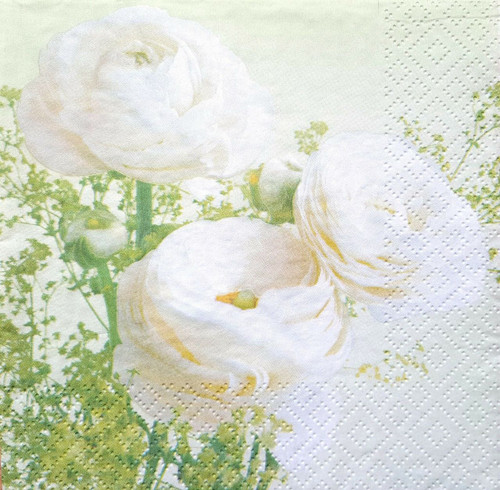 4 Vintage Paper Napkins , Lunch, Table , for Decoupage  -  Tea White Roses, Flowers