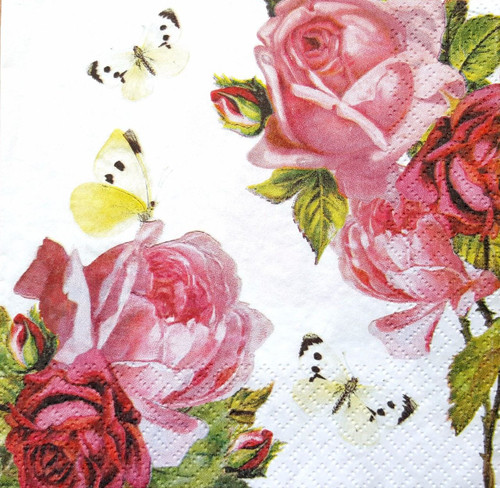 4 x Lunch Paper Napkins for Decoupage   - Beauty Bunch Red, Flowers