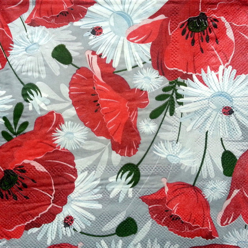 4 x Lunch Paper Napkins for Decoupage   -  Grey Poppies, Flowers